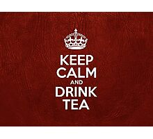 Keep Calm and Drink Tea - Red Leather Photographic Print