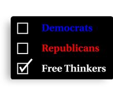 Election Ballot - Free Thinkers for Dark T's Canvas Print