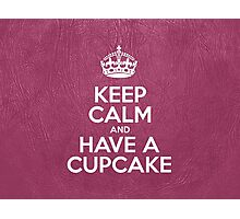 Keep Calm and Have a Cupcake - Pink Leather Photographic Print