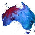 Watercolor map of Australia by Anastasiia Kucherenko