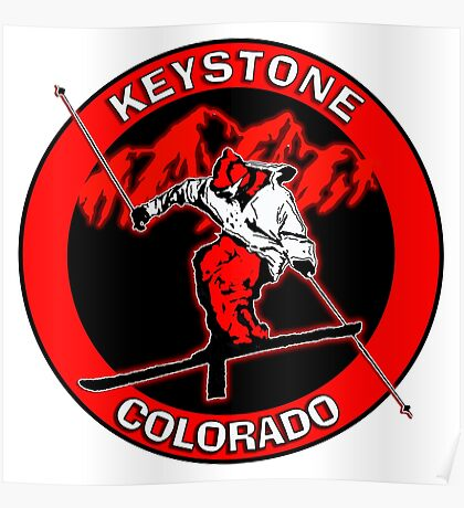 Keystone Colorado red skier Poster