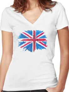 Watercolor Flag of the United Kingdom of Great Britain and Northern Ireland Women's Fitted V-Neck T-Shirt