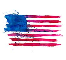 Watercolor Flag of the USA Photographic Print