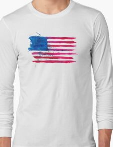 Watercolor Flag of the USA Long Sleeve T-Shirt