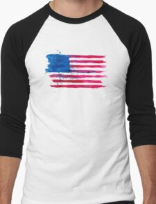 Watercolor Flag of the USA Men's Baseball ¾ T-Shirt