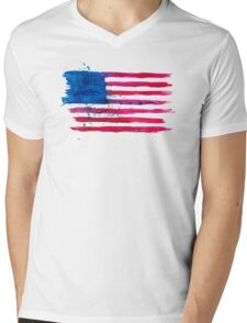 Watercolor Flag of the USA Mens V-Neck T-Shirt