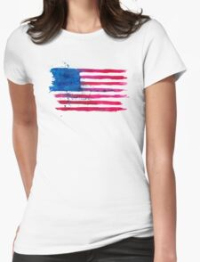 Watercolor Flag of the USA Womens Fitted T-Shirt