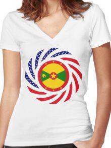 Grenadian American Multinational Patriot Flag Series Women's Fitted V-Neck T-Shirt