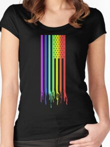American Flag- Gay Pride Women's Fitted Scoop T-Shirt