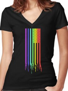 American Flag- Gay Pride Women's Fitted V-Neck T-Shirt