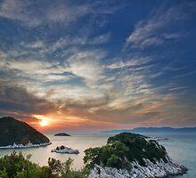 Sunset over island Mljet by Lidija Lolic