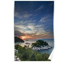 Sunset over island Mljet Poster