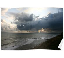 Storm clouds rising Norfolk coast Poster