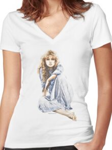 """Hippy Girl"" by Sara Moon Women's Fitted V-Neck T-Shirt"