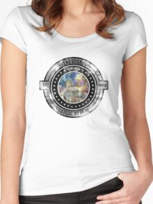 Distressed Geometric Las Vegas Cityscape  Women's Fitted Scoop T-Shirt