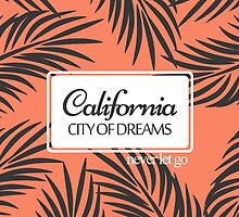 """Californita, City of Dreams"" Coral and Palm Fronds by Blkstrawberry"