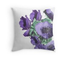 purple blue anemones Throw Pillow