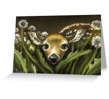 Peek-a-boo! little fawn by Tanya Bond Greeting Card
