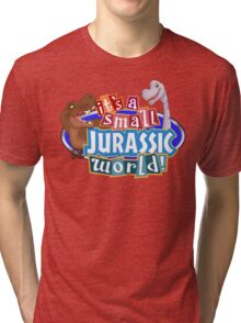 It's a Small Jurassic World (Logo w dinos) Tri-blend T-Shirt