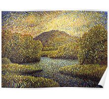 Bushes and trees by river Poster