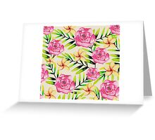 Ferns and Flowers Pattern Greeting Card