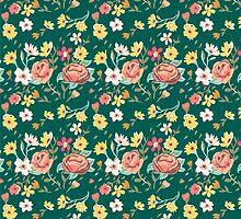 Blooming Flowers Pattern by KingdomofArt