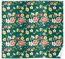 Blooming Flowers Pattern Poster