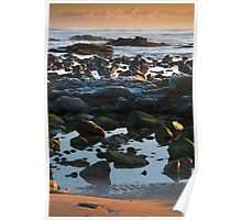 Framed by sand and sky: sunshine on the rocks, Yellowcraig beach, East Lothian, Scotland Poster