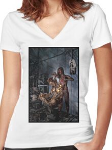 Cyberpunk Painting 058 Women's Fitted V-Neck T-Shirt