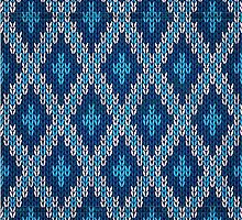 blue knitted diamond pattern by juliepotter