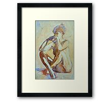 Nude : watercolor on yupo paper Framed Print