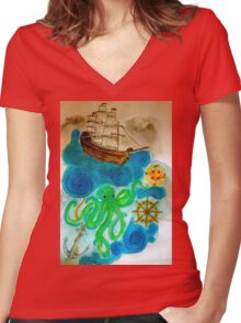 In A Nautical Dream Women's Fitted V-Neck T-Shirt