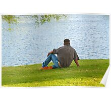 Man Sitting At The Park Poster