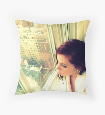 Looking down on her city below Throw Pillow