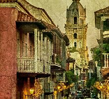 Vintage Grunge Urban View of Cartagena Architecture by DFLC Prints