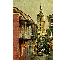 Vintage Grunge Urban View of Cartagena Architecture Photographic Print