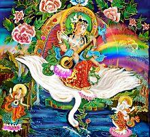 Om Saraswati ~ Protectress of the Arts ~ Sacred Art by Rita  Hraiz