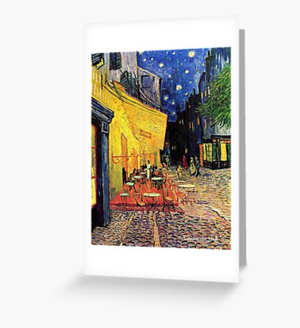 The Cafe Terrace on the Place du Forum, Arles, at Night,  Vincent van Gogh Greeting Card