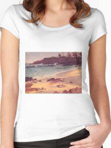 Bierstadt Albert Bahama Beach, fine art landscape oil painting. Women's Fitted Scoop T-Shirt