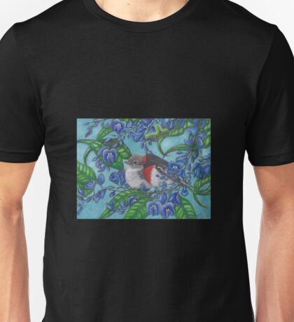 """Red Capped Robins Awaiting Dinner Guest"" Unisex T-Shirt"