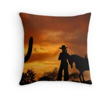 Cowgirl Sunset Throw Pillow