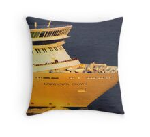 NORWEGIAN CROWN, SUNRISE, PORT OF NY  Throw Pillow