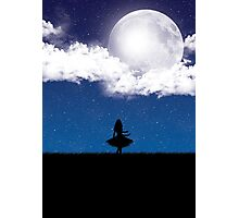 Wandering in the Moonlight Silhouette Photographic Print