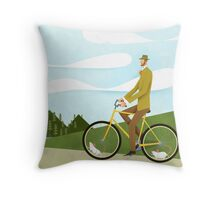 Tweed Cyclist on Mice Power Poster Throw Pillow