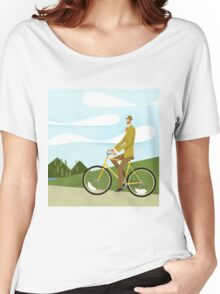Tweed Cyclist on Mice Power Poster Women's Relaxed Fit T-Shirt