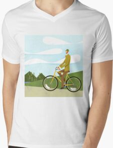 Tweed Cyclist on Mice Power Poster Mens V-Neck T-Shirt