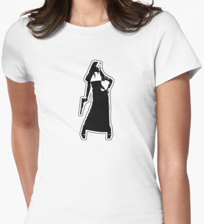 Gun Totting Nun II Womens Fitted T-Shirt
