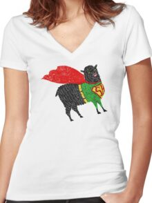 Superhero  Sheep Women's Fitted V-Neck T-Shirt
