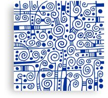 Abstract 040512 - Navy Blue on White Canvas Print