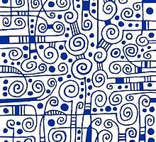 Abstract 040512 - Navy Blue on White by Artberry